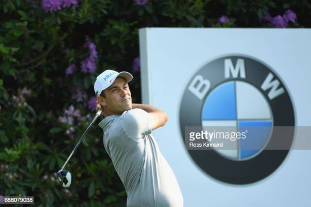 Florian Fritsch of Germany tees off on the 7th hole during day one of the BMW PGA Championship at Wentworth on May 25 2017 in Virginia Water England