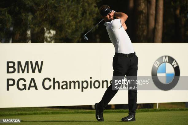 Florian Fritsch of Germany tees off on the 8th hole during day one of the BMW PGA Championship at Wentworth on May 25 2017 in Virginia Water England