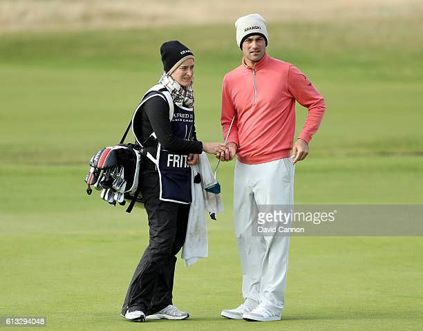 Florian Fritsch of Germany with his caddie on the 18th green during the third round of the Alfred Dunhill Links Championship at Carnoustie Golf Links...