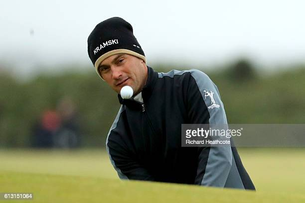 Florian Fritsch of Germnay pitching to the 14th green during the second round of the Alfred Dunhill Links Championship at The Old Course on October 7...