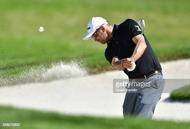 Florian Fritsch plays out of the bunker during the third round on day three of The Nordea Masters at Bro Hof Slott Golf Club on June 4 2016 in...