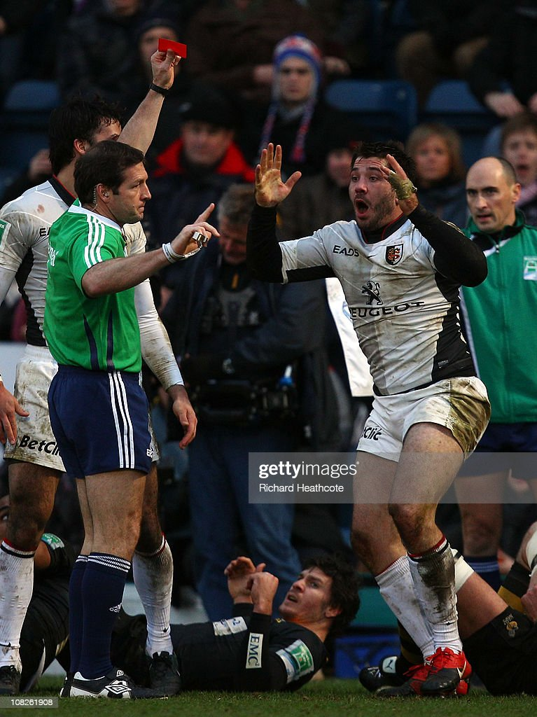<a gi-track='captionPersonalityLinkClicked' href=/galleries/search?phrase=Florian+Fritz&family=editorial&specificpeople=540919 ng-click='$event.stopPropagation()'>Florian Fritz</a> of Toulouse is sent off for a spear tackle on Tom Varndell of Wasps during the Heineken Cup pool 6 match between London Wasps and Toulouse at Adams Park on January 23, 2011 in High Wycombe, England.