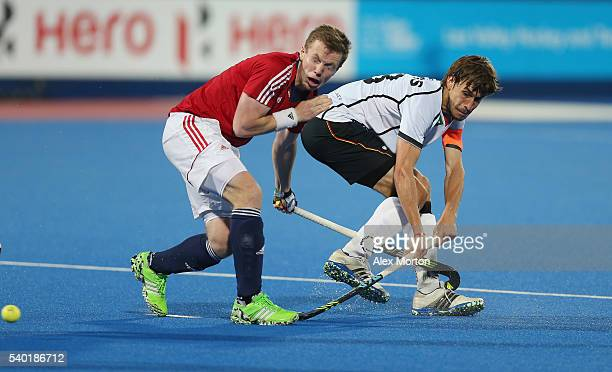 Florian Fuchs of Germany and Ian Sloan of Great Britain during the FIH Mens Hero Hockey Champions Trophy match between Great Britain and Germany at...