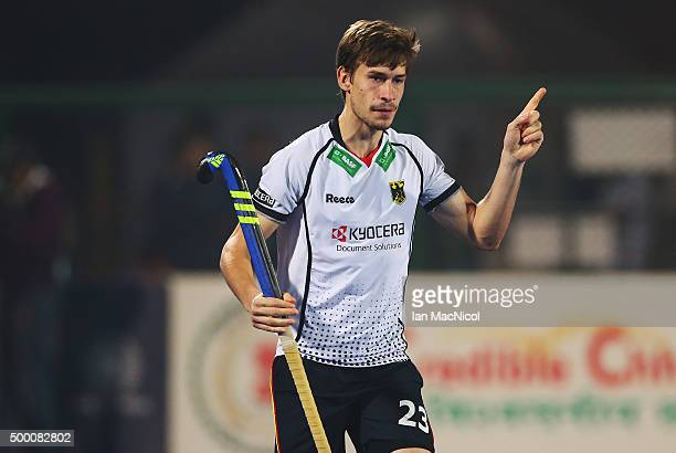 Florian Fuchs of Germany celebrates scoring during the match between Germany and Canada on day nine of The Hero Hockey League World Final at the...