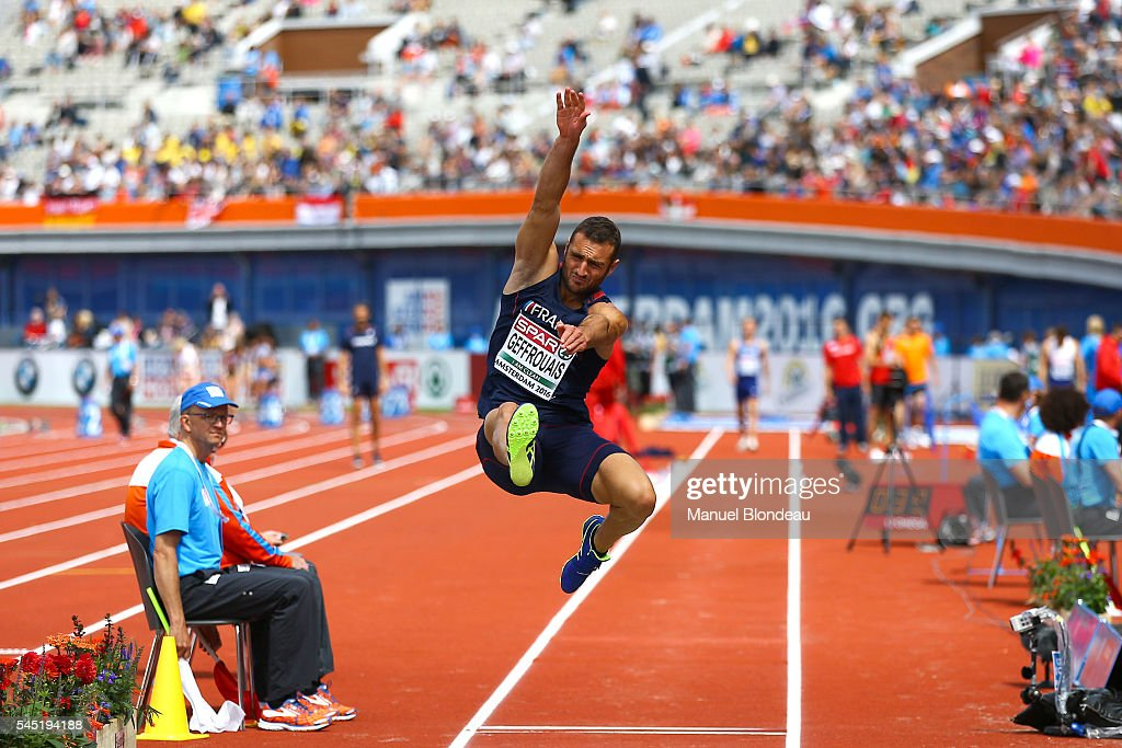 Florian Geffrouais of France in action during the Decathlon Long Jump during the European Athletics Championships at Olympic Stadium on July 6, 2016 in Amsterdam, Netherlands.