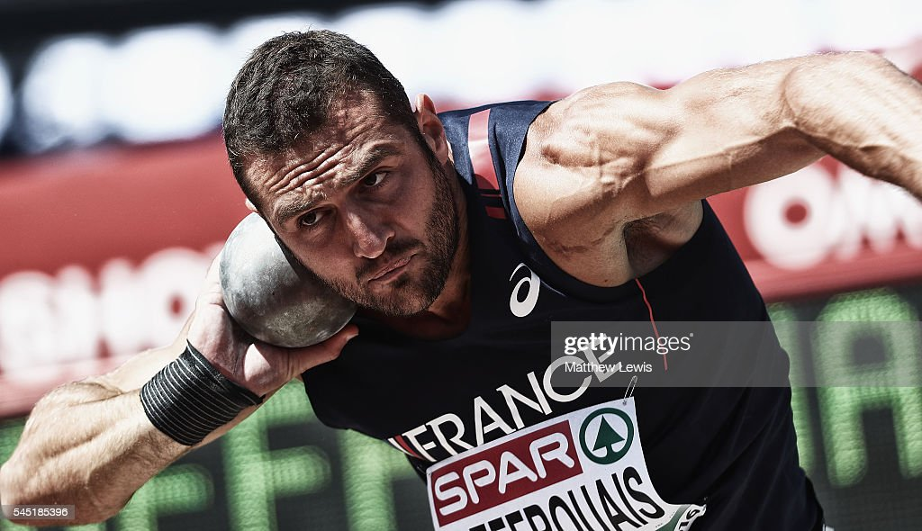 Florian Geffrouais of France in action during the Mens Decathlon shot Putt during day one of the 23rd European Athletics Championships at Olympic Stadium on July 6, 2016 in Amsterdam, Netherlands.