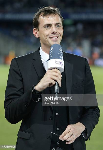 Florian Genton of beIN Sports comments the French Ligue 1 match between Montpellier Herault SC and Paris SaintGermain at Stade de la Mosson on May 16...