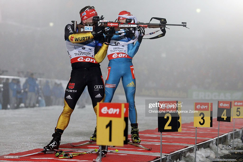 Florian Graf of Germany takes 3rd place during the IBU Biathlon World Cup Men's Relay on January 04, 2013 in Oberhof, Germany.