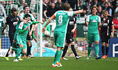 Florian Grillitsch of Bremen celebrates after scoring his teams first goal during the Bundesliga match between Werder Bremen and FC Augsburg at...