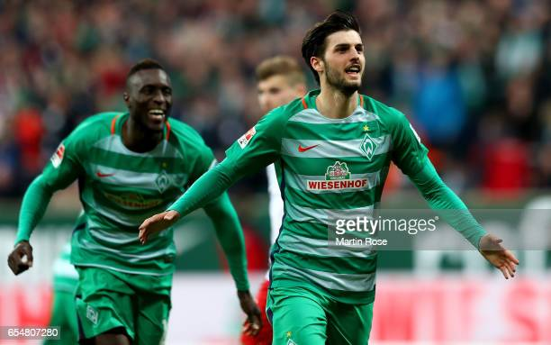 Florian Grillitsch of Bremen celebrates after scoring his team's second goal during the Bundesliga match between Werder Bremen and RB Leipzig at...