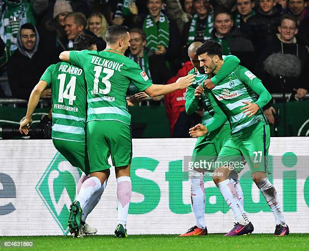 Florian Grillitsch of Bremen celebrates scoring his goal during the Bundesliga match between Werder Bremen and Eintracht Frankfurt at Weserstadion on...