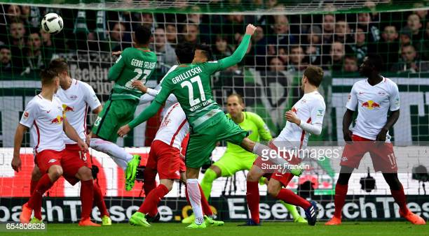 Florian Grillitsch of Bremen scores his teams second goal during the Bundesliga match between Werder Bremen and RB Leipzig at Weserstadion on March...