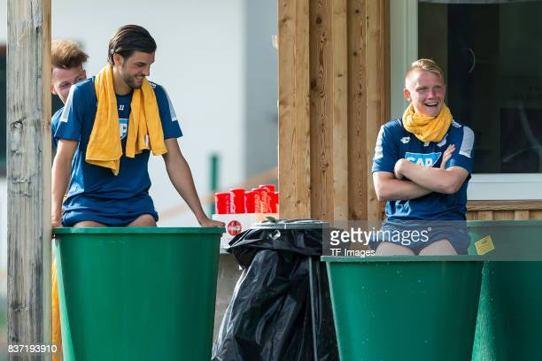 Florian Grillitsch of Hoffenheim and Philipp Ochs of Hoffenheim looks on during the Training Camp of TSG 1899 Hoffenheim on July 16 2017 in...