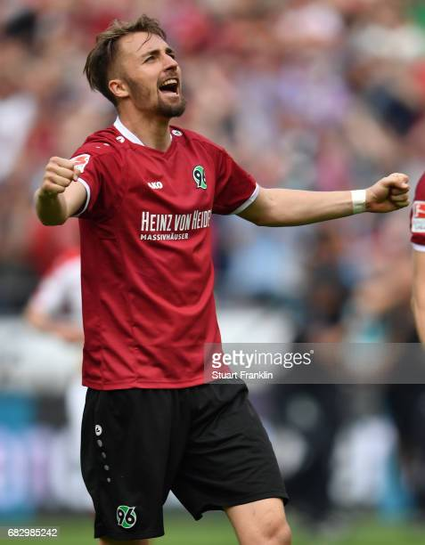 Florian Hbner of Hannover celebrates after the Second Bundesliga match between Hannover 96 and VfB Stuttgart at HDIArena on May 14 2017 in Hanover...