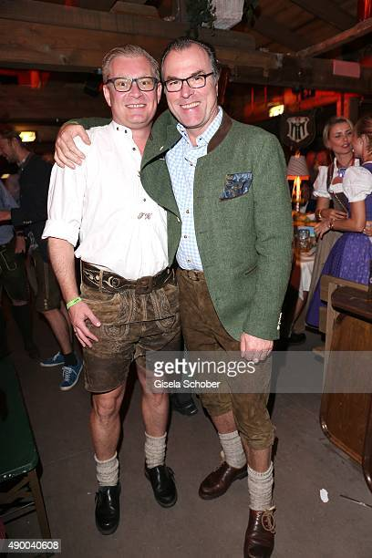Florian Hoeness son of Uli Hoeniess and Clemens Toennies during the Oktoberfest 2015 at Kaeferschaenke at Theresienwiese on September 25 2015 in...