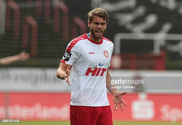 Florian Hoernig of Cologne gestures during the Third League match between Preussen Muenster and Fortuna Koeln at Preussenstadion on September 19 2015...
