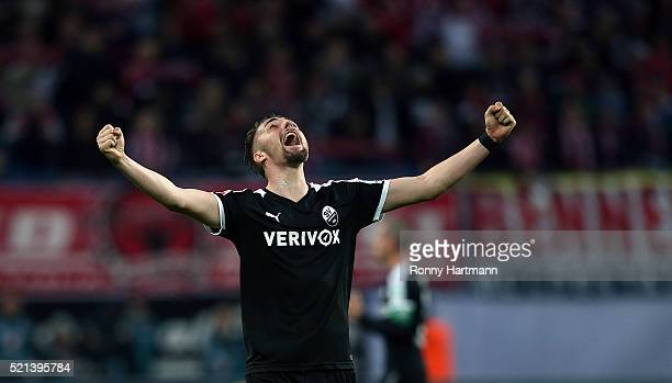 Florian Huebner of Sandhausen celebrates during the Second Bundesliga match between RB Leipzig and SV Sandhausen at Red Bull Arena on April 15 2016...