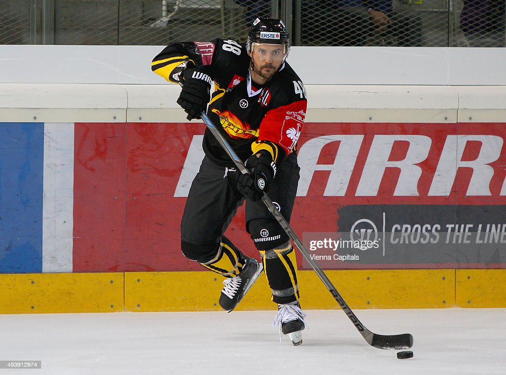 Florian Iberer of the Capitals in action during the Champions Hockey League group stage game between Vienna Capitals and Faerjestad Karlstad on August 21, 2014 in Vienna, Austria.