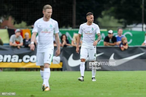 Florian Kainz of Bremen Robert Bauer of Bremen looks on during the preseason friendly between Werder Bremen and Wolverhampton Wanderers at...