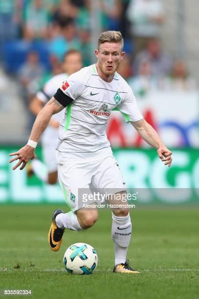Florian Kainz of Bremen runs with the ball during the Bundesliga match between TSG 1899 Hoffenheim and SV Werder Bremen at Wirsol RheinNeckarArena on...