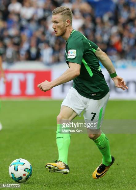 Florian Kainz of Bremen runs with the ball during the Bundesliga match between Hertha BSC and SV Werder Bremen at Olympiastadion on September 10 2017...