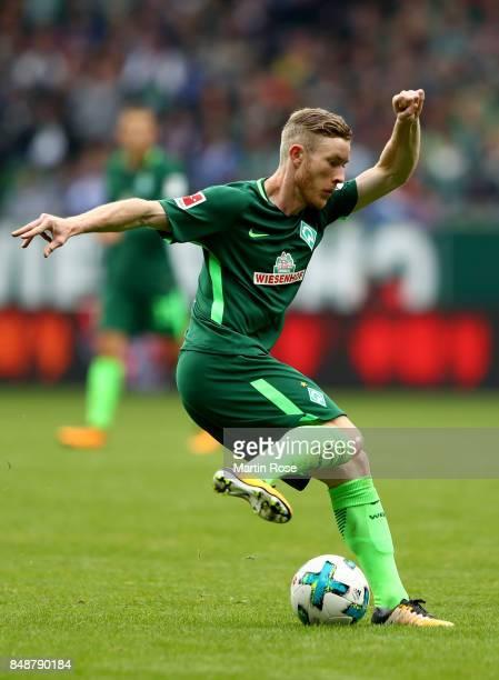 Florian Kainz of Bremen runs with the ball during the Bundesliga match between SV Werder Bremen and FC Schalke 04 at Weserstadion on September 16...