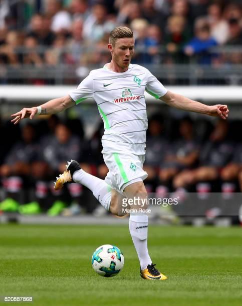 Florian Kainz of Bremen runs with the ball during the preseason friendly match between FC St Pauli and Werder Bremen at Millerntor Stadium on July 22...
