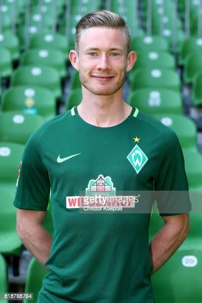 Florian Kainz of Werder Bremen poses during the team presentation at Weser Stadium on July 19 2017 in Bremen Germany