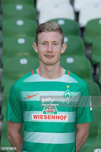 Florian Kainz poses during the offical team presentation of Werder Bremen on July 20 2016 in Bremen Germany