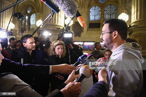 Florian Kasiske spokesman for the ONolympia group talks to the media at the Rathaus as the results of the referendum on Hamburg's 2014 Olympic games...