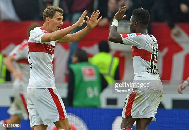 Florian Klein and Carlos Mane of Stuttgart celebrate during the Second Bundesliga match between VfB Stuttgart and DSC Arminia Bielefeld at...