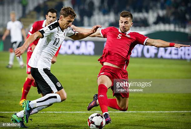 Florian Klein of Austria in action against Matija Nastasic of Serbia during the FIFA 2018 World Cup Qualifier between Serbia and Austria at stadium...