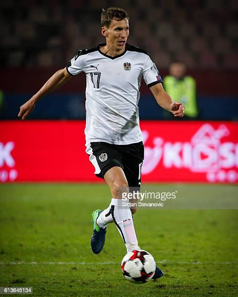 Florian Klein of Austria in action during the FIFA 2018 World Cup Qualifier between Serbia and Austria at stadium Rajko Mitic on October 9 2016 in...