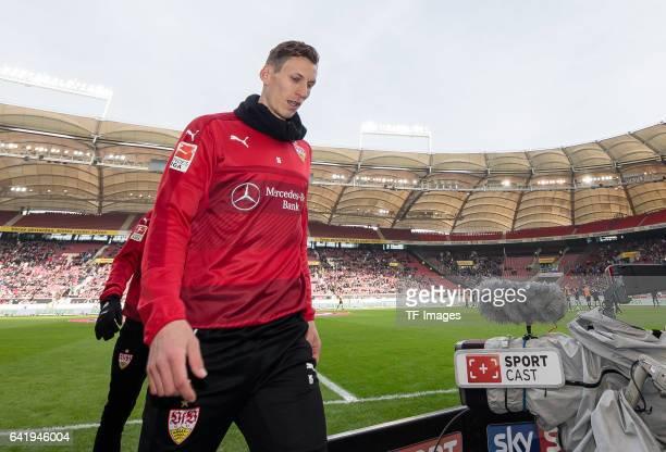 Florian Klein of Stuttgart looks on during the Second Bundesliga match between VfB Stuttgart and SV Sandhausen at MercedesBenz Arena on February 12...