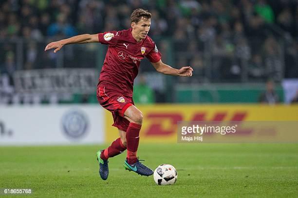 Florian Klein of Stuttgart plays the ball during the DFB Cup match between Borussia Moenchengladbach and VfB Stuttgart at BorussiaPark on October 25...