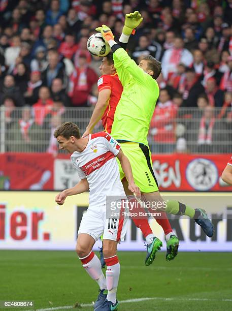 Florian Klein of VfB Stuttgart Damir Kreilach of 1 FC Union Berlin and Mitchell Langerak of VfB Stuttgart during the game between dem 1 FC Union...