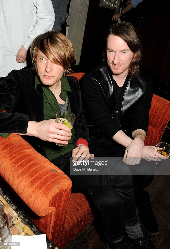 Florian Kremb (L) and Mark Fast attend the ABSOLUT Elyx launch party at The Box Soho on March 26, 2013 in London, England.