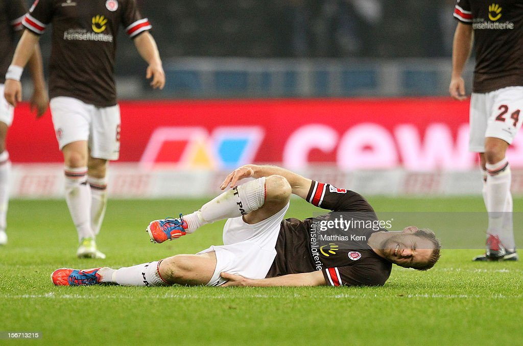 <a gi-track='captionPersonalityLinkClicked' href=/galleries/search?phrase=Florian+Kringe&family=editorial&specificpeople=635000 ng-click='$event.stopPropagation()'>Florian Kringe</a> of St. Pauli lys on the pitch during the Second Bundesliga match between Hertha BSC Berlin and FC St. Pauli at Olympic stadium on November 19, 2012 in Berlin, Germany.