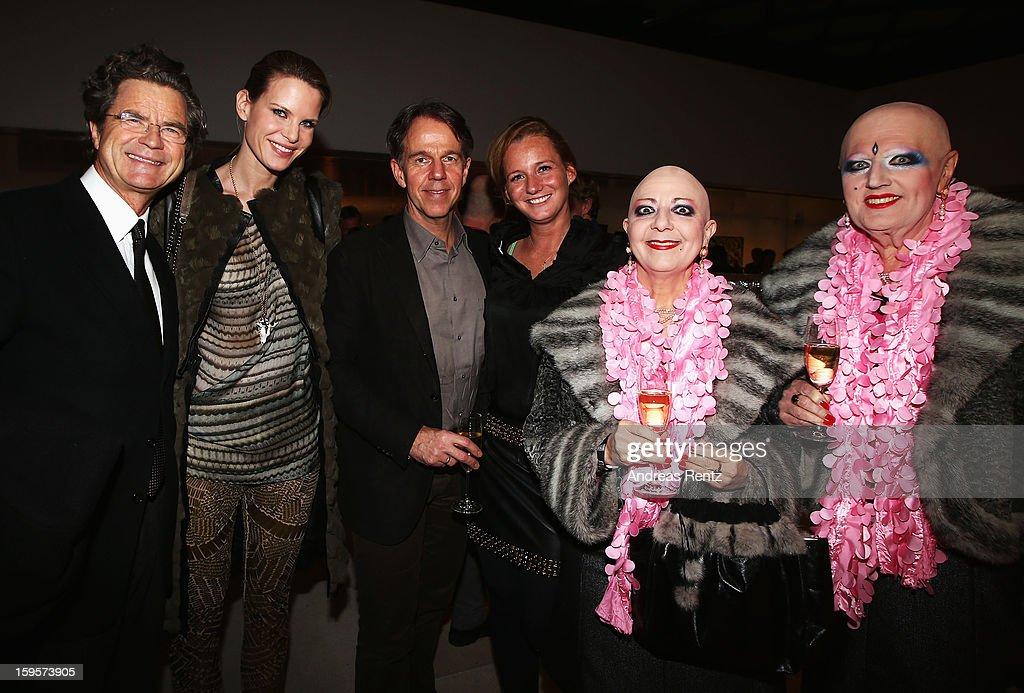 Florian Langescheidt, Miriam Langenscheidt, Klaus Dahm, Jenny Falckenberg and Eva and Adele attend Flair Magazine Party at Pariser Platz 4 on January 15, 2013 in Berlin, Germany.
