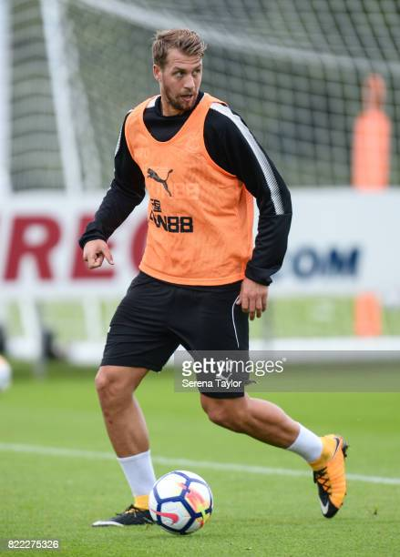 Florian Lejeune controls the ball during the Newcastle United Training session at the Newcastle United Training ground on July 25 in Newcastle upon...