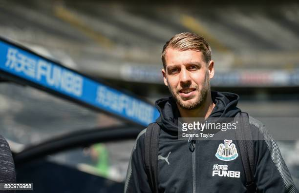 Florian Lejeune of Newcastle United arrives for the Premier League Match between Newcastle United and Tottenham Hotspur at StJames' Park on August 13...
