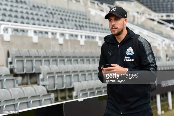 Florian Lejeune of Newcastle United arrives for the Premier League Match between Newcastle United and Liverpool at StJames' Park on October 1 in...