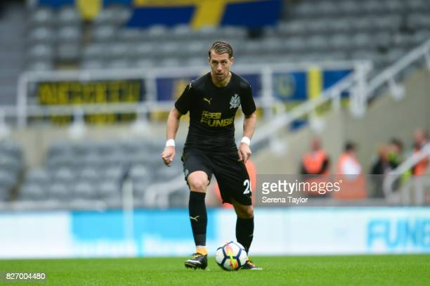 Florian Lejeune of Newcastle United controls the ball during the Pre Season Friendly match between Newcastle United and Hellas Verona at StJames'...