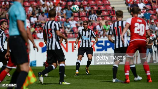 Florian Lejeune of Newcastle United looks to head the ball during the Pre Season Friendly match between FSV Mainz 05 and Newcastle United at Opel...