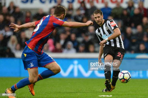 Florian Lejeune of Newcastle United passes the ball during the Premier League match between Newcastle United and Crystal Palace at StJames' Park on...