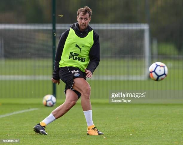 Florian Lejeune passes the ball during the Newcastle United Training session at the Newcastle United Training Centre on October 13 in Newcastle...