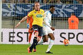 Florian Martin of Sochaux and Abou Diaby of Marseille during the semifinal French Cup between Sochaux and Olympique de Marseille at Stade Auguste...