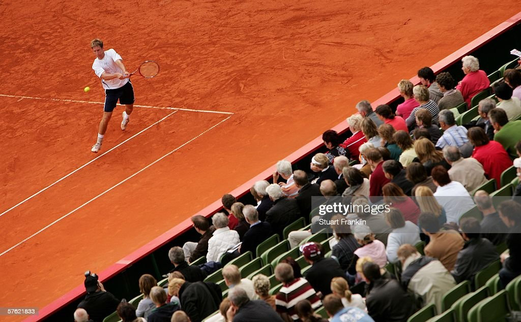 Florian Meyer of Germany in action during his match against Dominik Hrabaty of Slovakia during day two of the Tennis Masters Series Hamburg at...