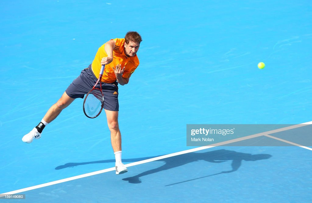 Florian Meyer of Germany serves in his second round match against Bernard Tomic of Australia during day four of the Sydney International at Sydney Olympic Park Tennis Centre on January 9, 2013 in Sydney, Australia.