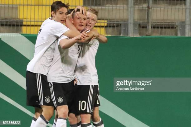 Florian Neuhaus Fabian Reese celebrate with Philipp Ochs of Germany during the U20 Germany vs U20 Switzerland International FriendlyMatch on March 23...